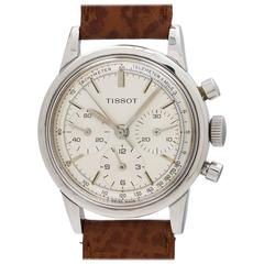 Tissot Stainless Steel Triple Registers Chronograph Manual Wind Wristwatch