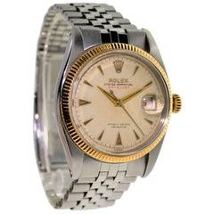 Rolex Rose Gold Stainless Steel Datejust Wristwatch Ref 6305/1, circa 1956