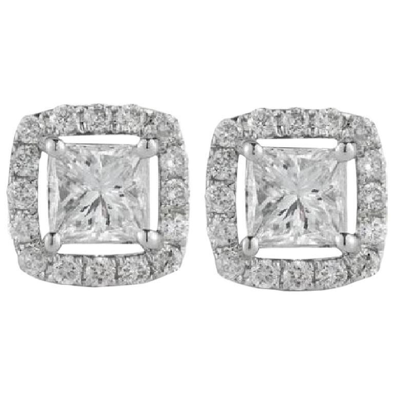 Princess Halo Diamond Gold Stud Earrings
