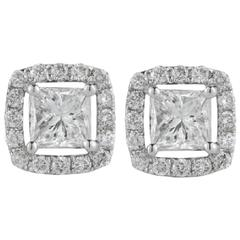 Princess Halo Diamond Gold Stud Earrings