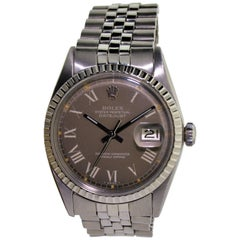 Rolex Stainless Steel Datejust Charcoal Roman Numeral Dial Wristwatch