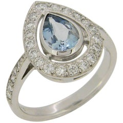 Pear Shape Aquamarine and Diamond Halo Ring