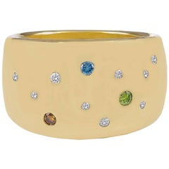 Gold Band with Fancy Multi-Colored Diamonds