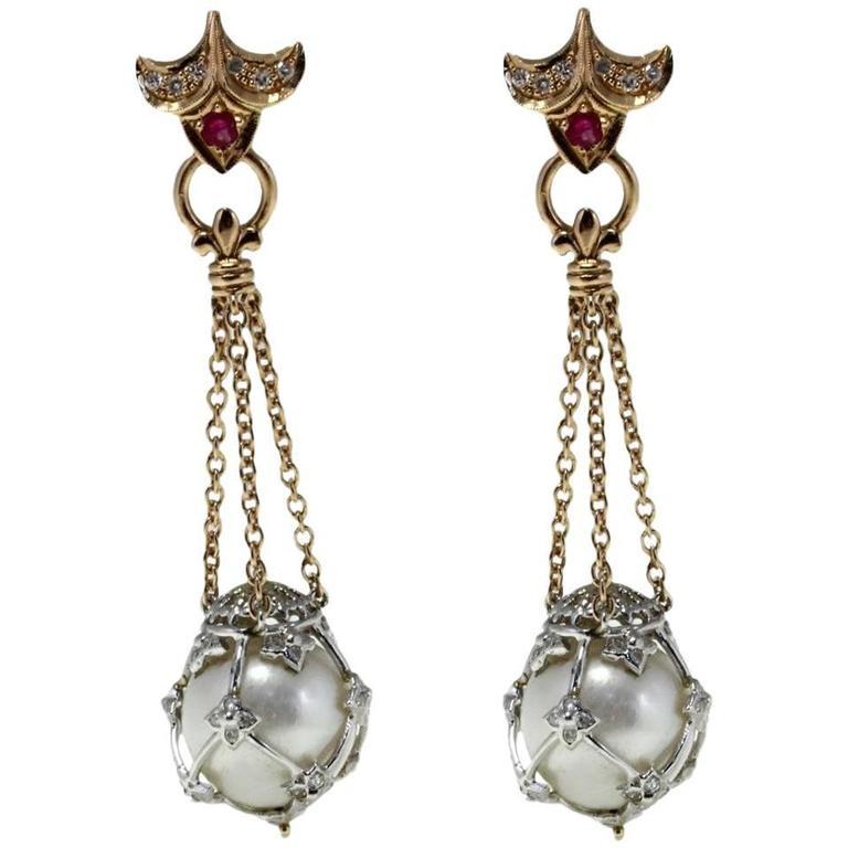 Australian  Pearl Ruby Diamond Gold Dangle Earrings