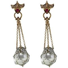 Australian  Pearl Ruby Diamond Gold Dangle Earrings