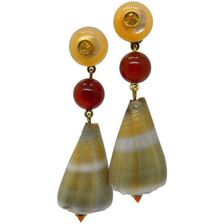 Seashell Yellow Sapphire Carnelian Mother-of-Pearl Gold Drop Earrings