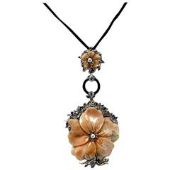 Luise Pearl Coral Onyx Sapphire Diamond Gold Floral Pendant