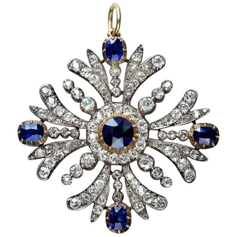 Early Victorian Sapphire Diamond Pendant 1