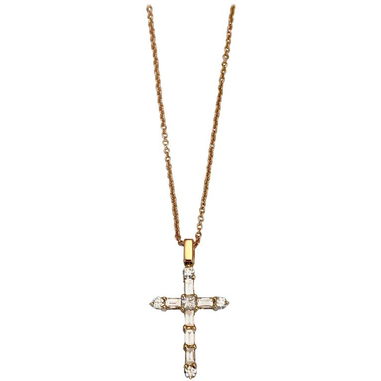 Diamonds Yellow Gold Cross Pendant Necklace