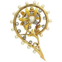 18K Late Victorian Pearl Rose Cut Diamond Gold Brooch
