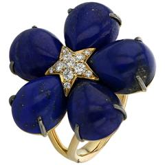 Ring Pink Gold 18 Karat 8.70g Lapiz Lazuli 29.63 Carat White Diamonds 0.28 Carat