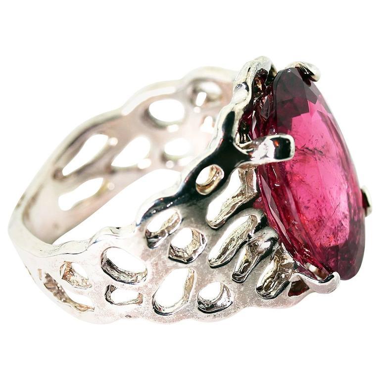 Huge Beautiful Rubelite Tourmaline Sterling Silver Ring