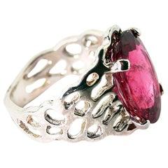 Gemjunky Stunning Reflective 8.5 Ct Rubelite Tourmaline Sterling Silver Ring