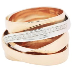 Ferrucci Diamond Rose and White Gold Wide Band