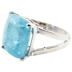 Super Large Beautiful Blue Aquamarine Sterling Silver Ring