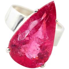 Huge Unique 15 Carat Pink Tourmaline Sterling Silver Ring