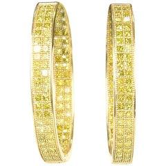 Diamond Hoop Earrings Set in 18 Carat Yellow Gold