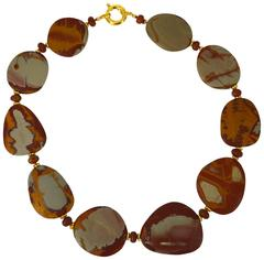 Large Natural Matt Australian Noreena Jasper Mookaite Gold Necklace