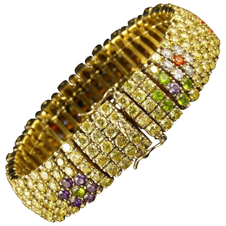 Antique French Paste Bracelet Colorful Paste, circa 1930 Suffragette Colors