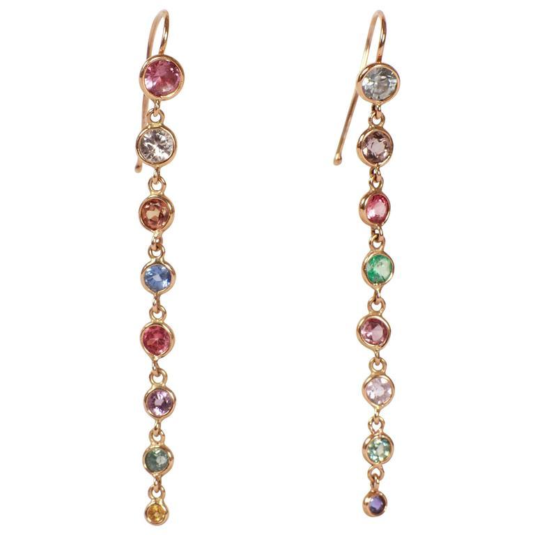 Marion Jeantet Multicolored Rainbow Sapphires Earrings