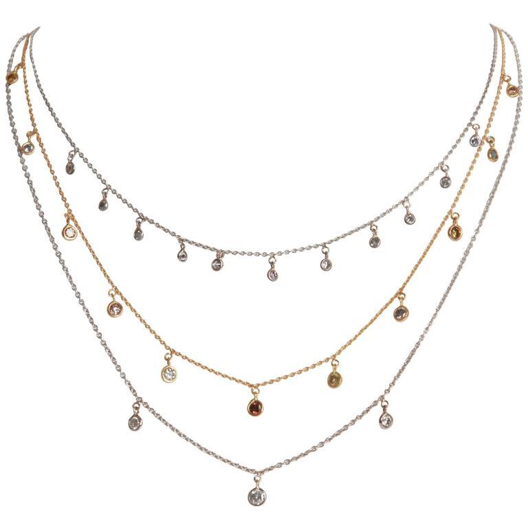 Marion Jeantet Three Diamond Gold Summer Rain Necklaces
