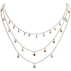 Marion Jeantet Three Diamond Gold Summer Rain Necklaces
