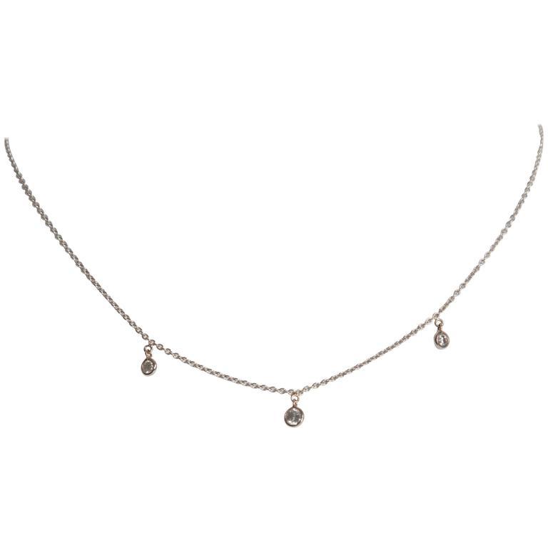 Marion Jeantet Three Grey Diamonds White Gold Summer Rain Chain Necklace