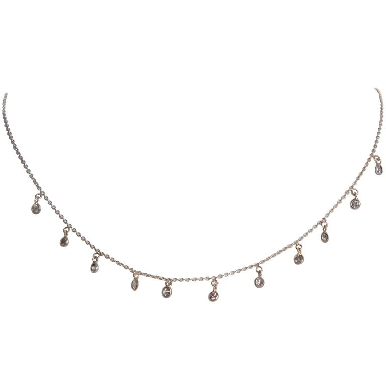 Marion Jeantet 11 Grey Diamonds White Gold Summer Rain Chain Necklace