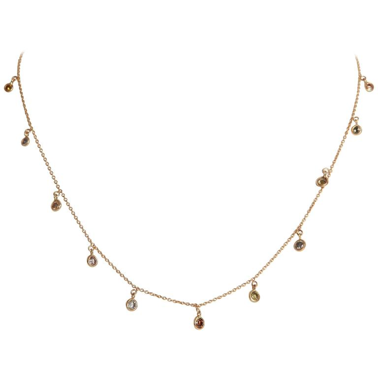 Marion Jeantet Fancy Diamond Yellow Gold Summer Rain Chain Necklace For Sale
