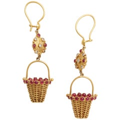 One of a Kind Gold and Ruby Earrings