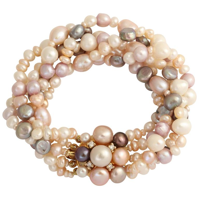 Luscious Pearl Diamond Gold Bracelet
