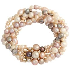 Luscious Pearl Diamond Gold Bracelet