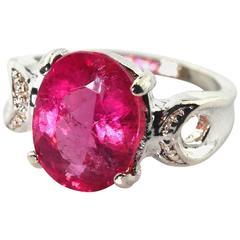 3.95 Carat Pink Magenta Tourmaline Sterling Silver Cocktail Ring