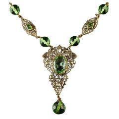 Antique Victorian Green Paste Necklace Filigree, 1900