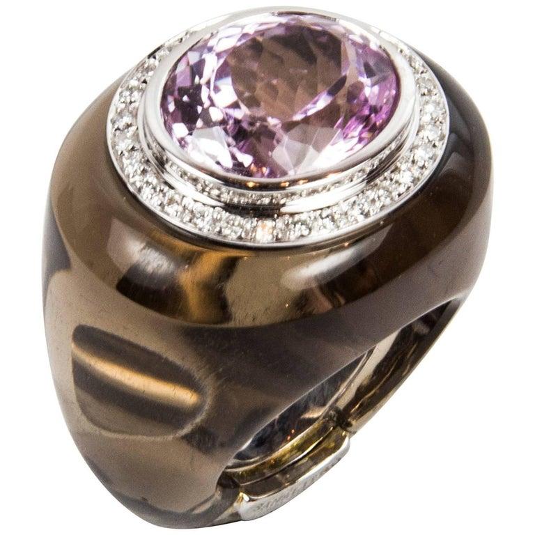 12.0 Carat Kunzite Smoky Quartz Diamond Gold Statement Ring