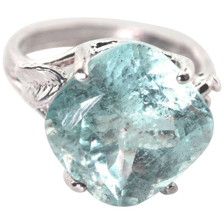 6.5 Carat Unique Blue Aquamarine Sterling Silver Cocktail Ring