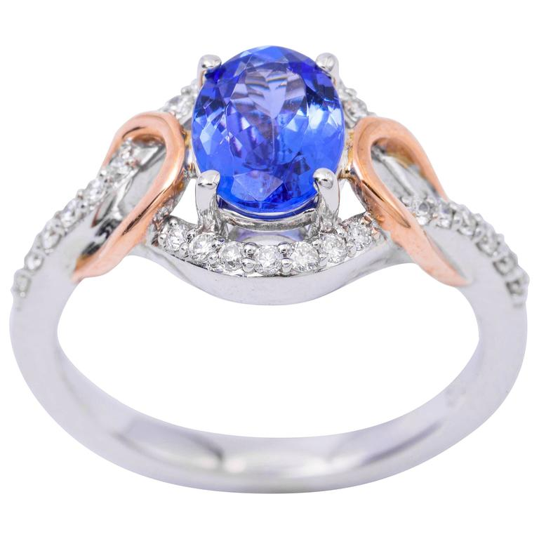 Tanzanite Diamond White and Yellow Gold Ring
