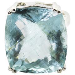 28.5 Carat Natural Aquamarine Sterling Silver Cocktail Ring