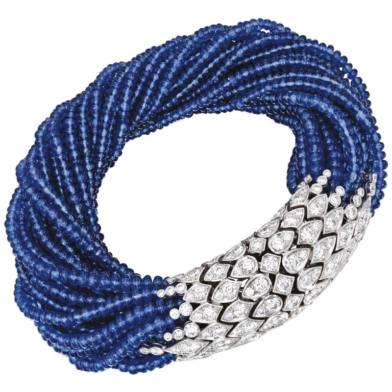 Cartier Paris Magnificent Sapphire Bead Torsade Diamond Bracelet 1