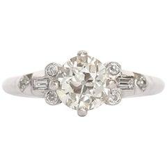 Edwardian 1.04 Carat Old European Brilliant Cut Diamond Platinum Engagement Ring