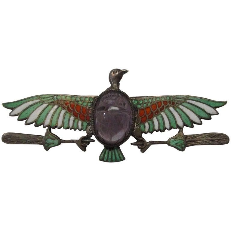 Egyptian Revival Silver Enamel Amethyst Eagle Pin