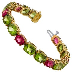 Peridot and Pink Tourmaline Bracelet