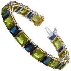 Peridot and Sapphire Bracelet