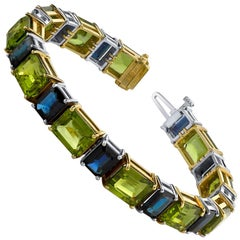 Blue Sapphire and Peridot Emerald-Cut, White and Yellow Gold Tennis Bracelet