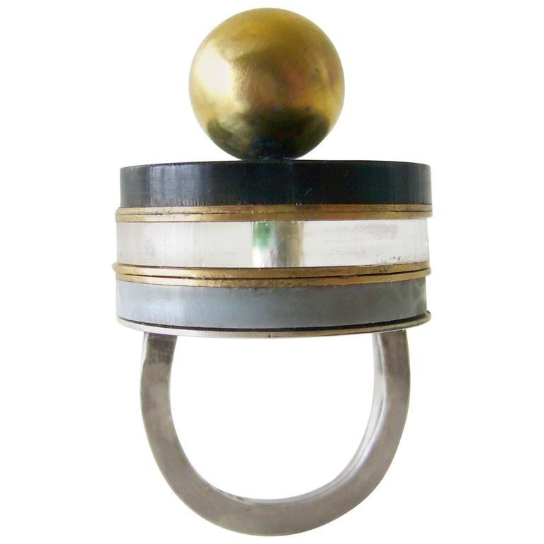 Heidi Abrahamson Sterling Silver Brass Acrylic Ring
