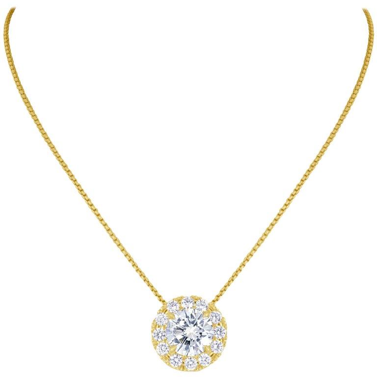 3.18 Carat Light Yellow Round Brilliant Cut Diamond Halo Gold Necklace