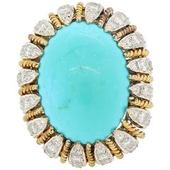 Turquoise Diamond Gold Cocktail Ring
