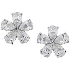 1.90 Carat Diamond White Gold Flower Stud Earrings
