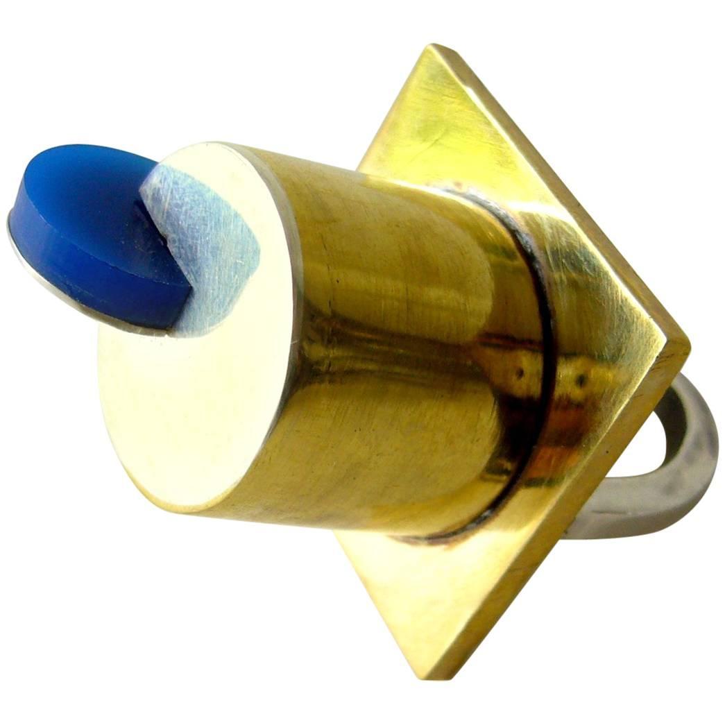 Heidi Abrahamson Sterling Silver Brass Acrylic Postmodern Ring