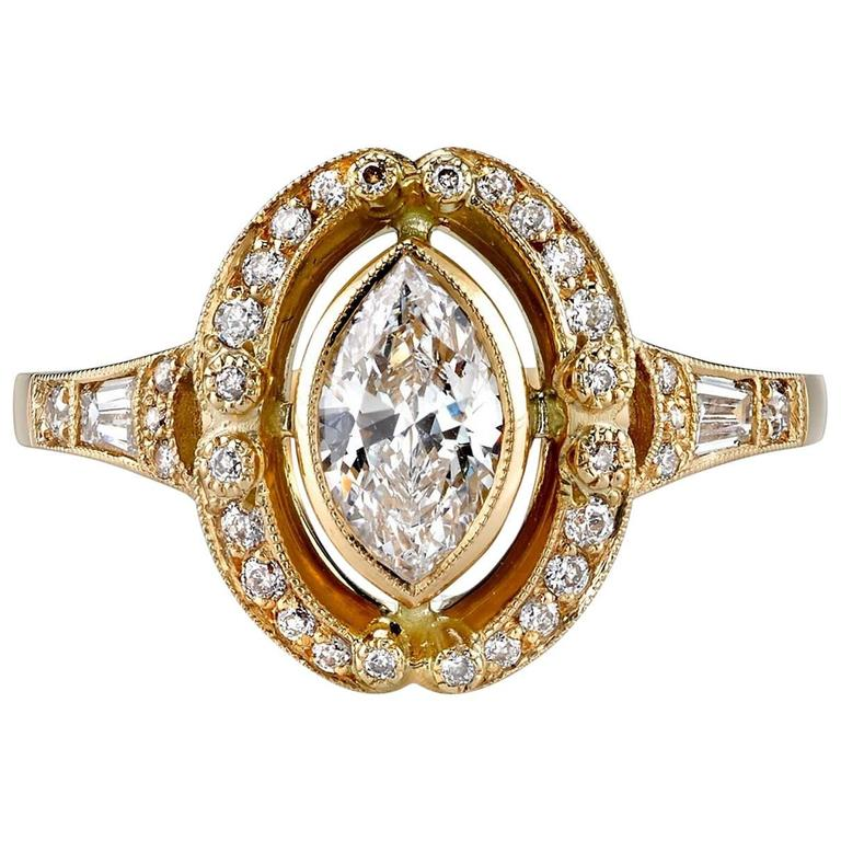 Marquise Cut Diamond Yellow Gold Engagement Ring For Sale at 1stdibs